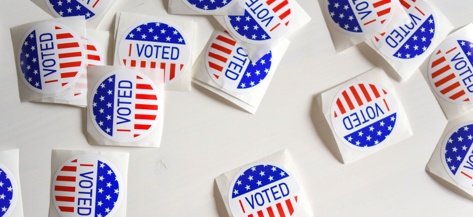 """""""I voted"""" stickers on a white background"""
