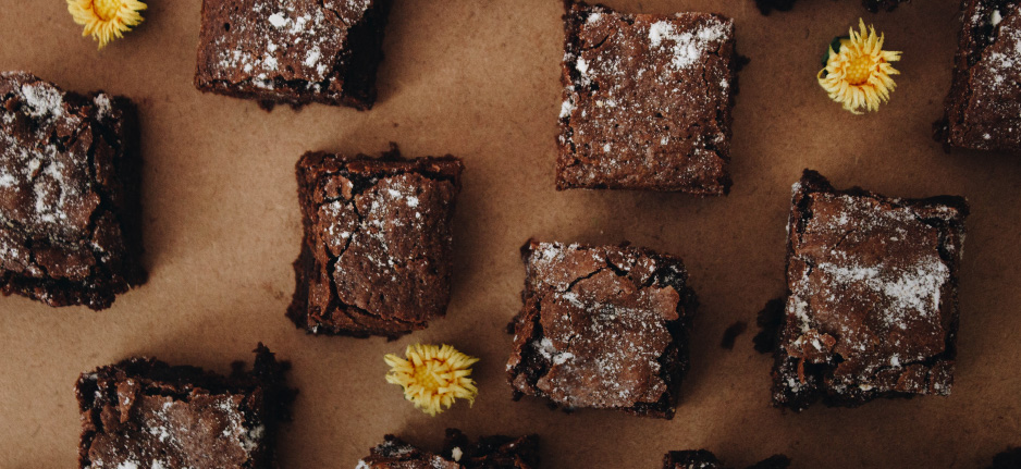 brownies on a brown background