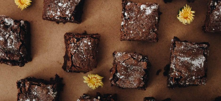 brownies on brown background