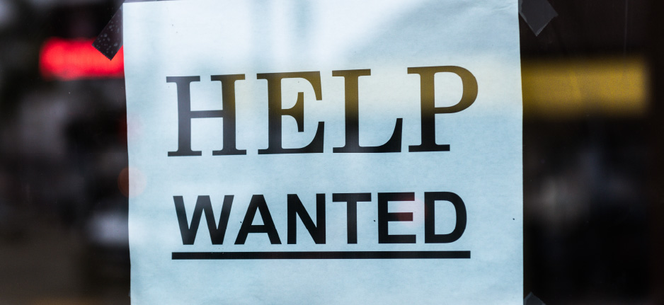 help wanted sign in store window