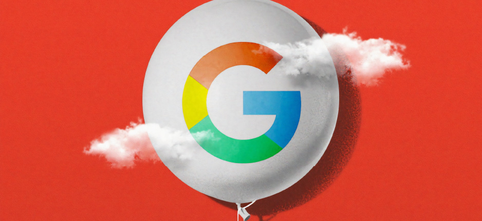 google balloon on red background
