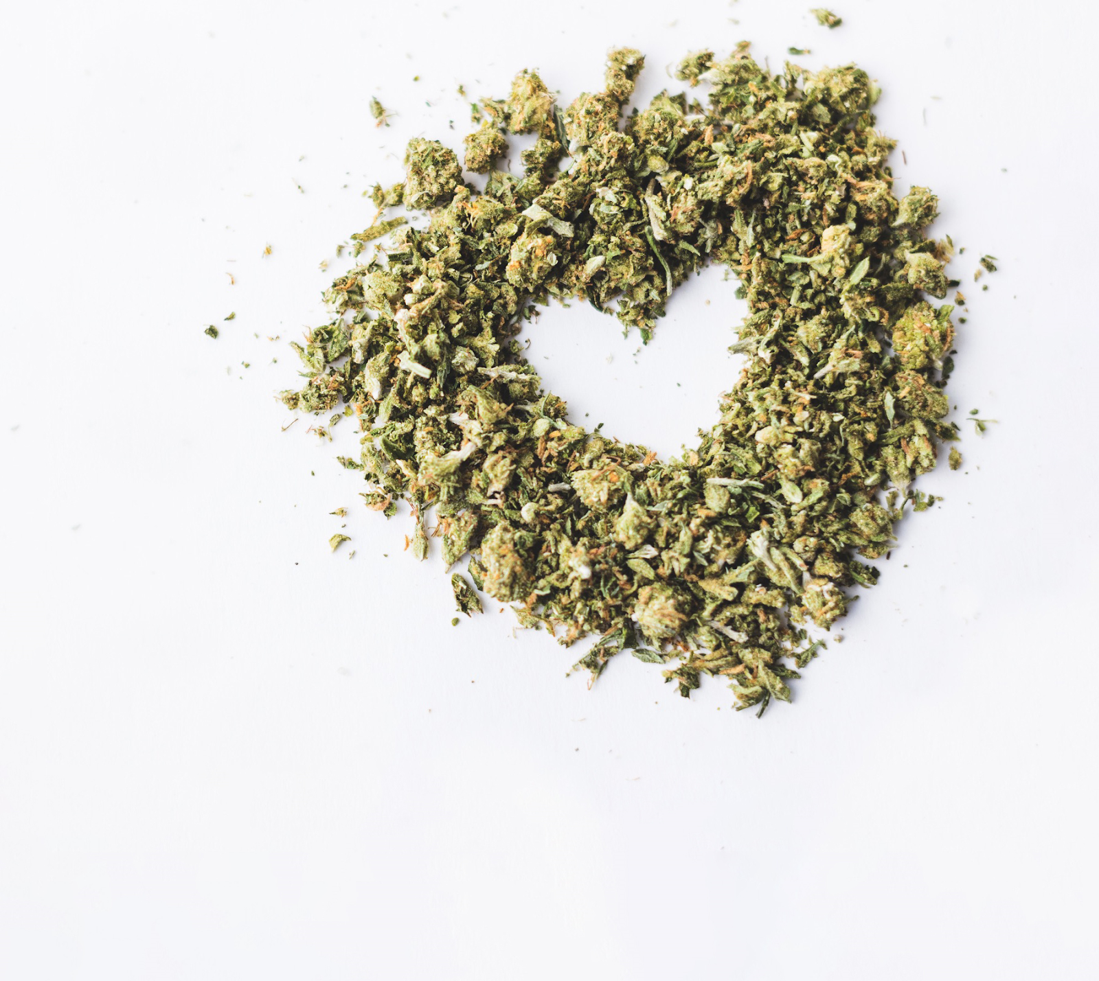 cannabis in the shape of a heart